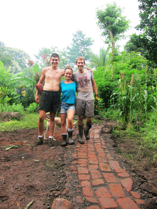 path, bricks, permaculture, waste, volunteer